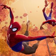 Peter Parker and Miles Morales in Sony Pictures Animation's SPIDER-MAN: INTO THE SPIDER-VERSE © 2018 SPAI. All rights reserved. -